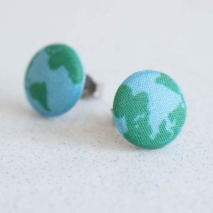 Around the World Fabric Button Earrings