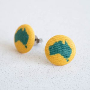 Australian Fabric Button Earrings
