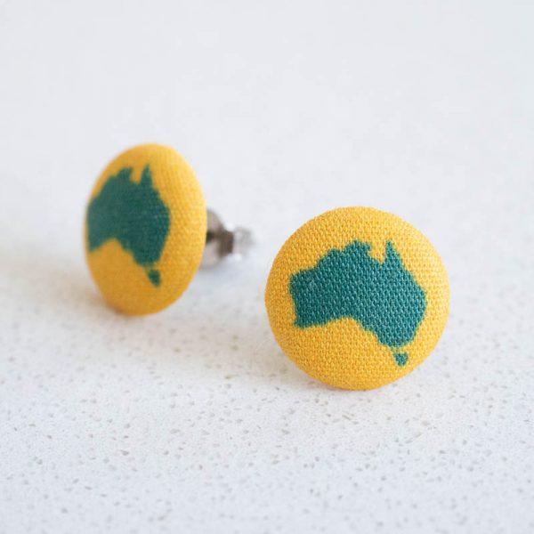 Australian Fabric Button Earrings