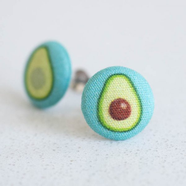 Avocado Fabric Button Earrings