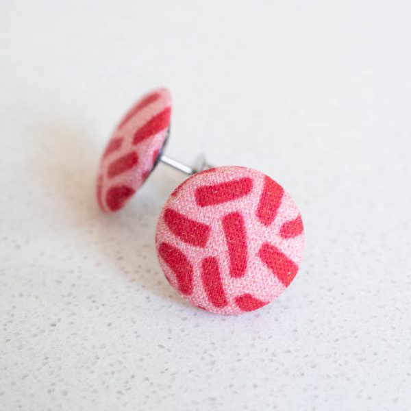 Bits and Pieces Fabric Button Earrings