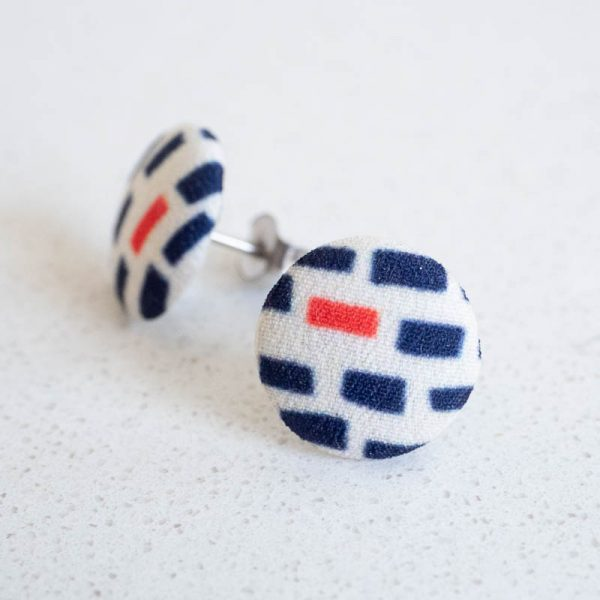 Fabric Button Earrings by Louise Margaret
