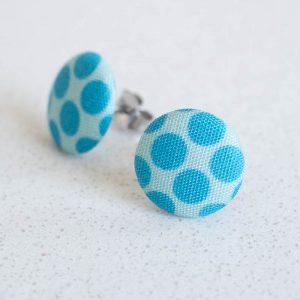 Blue Polka Dot Fabric Button Earrings