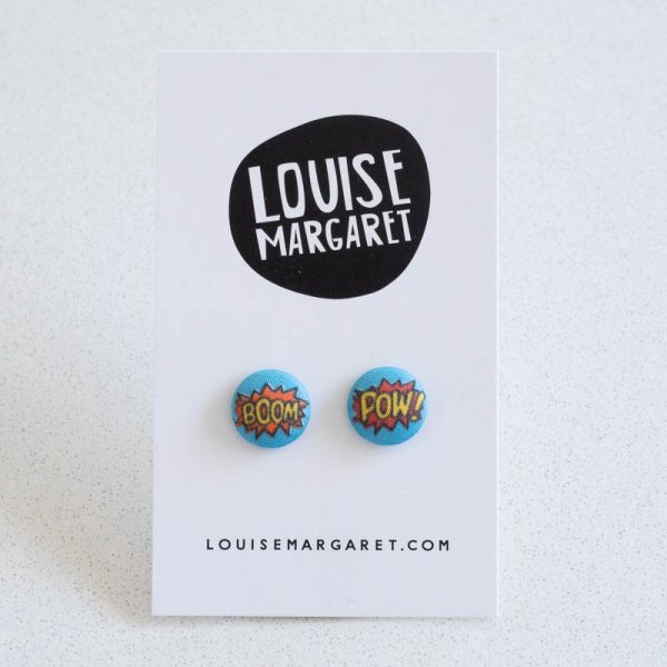 Boom Pow Cartoon Fabric Button Earrings