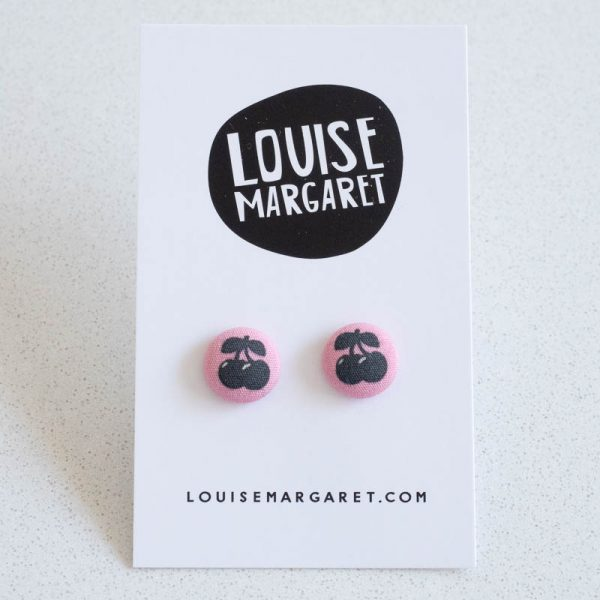 Cherry Fabric Button Earrings
