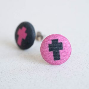 Cross Fabric Button Earrings