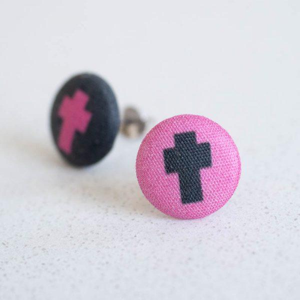 Cross Fabric Button Earrings
