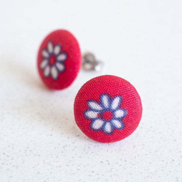 Red Daisy Fabric Button Earrings