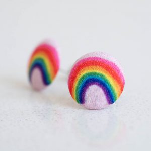 Over the Rainbow Fabric Button Earrings