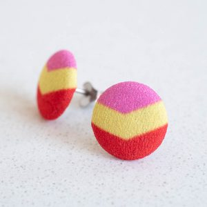 Geometric Fabric Button Earrings -Red Pink Yellow