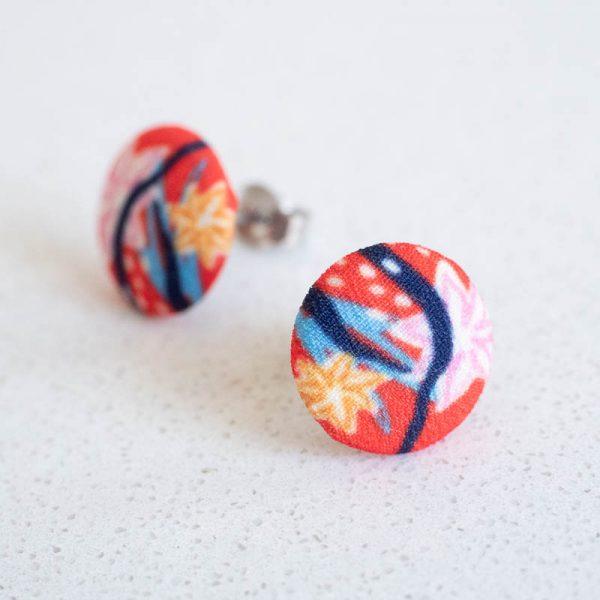 Modern Garden Red Fabric Button Earrings