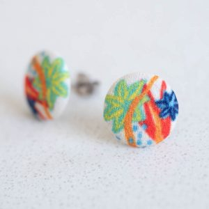 Modern Garden White Fabric Button Earrings by Louise Margaret