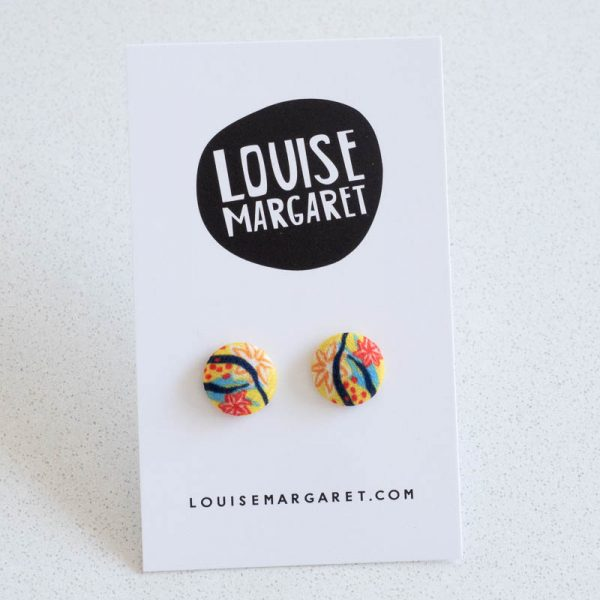 Modern Garden Yellow Fabric Button Earrings by Louise Margaret