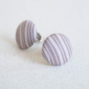 Neutral Stripes Fabric Button Earrings