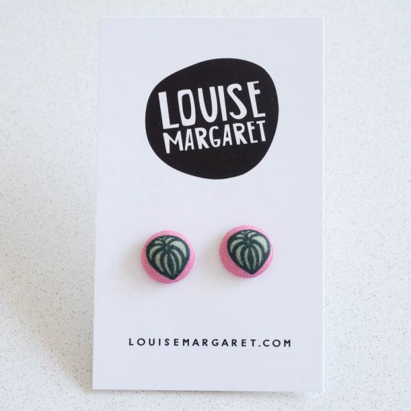 Peperomia Fabric Button Earrings by Louise Margaret