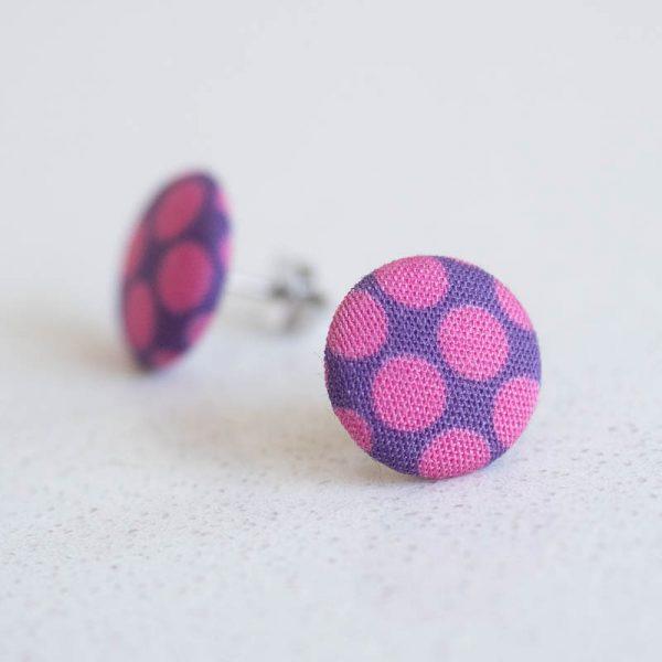 Purple Polka Dot Fabric Button Earrings